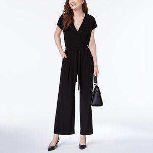 Annabelle faux wrap black jumpsuit sz S